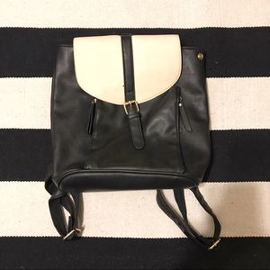 Boohoo Black and Cream Faux Leather Backpack